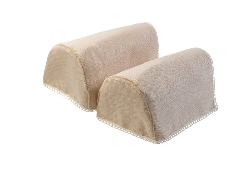 Chenille Pair of XL Rounded Arm Caps with Lace Trim Sofa Furniture Cover (Pair Lace Trim)