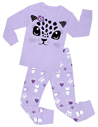 Little Girls Cat Pajamas Set Children Cotton Clothes Christmas Gift Pjs Size 6 Years