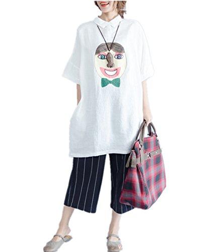 YESNO QR4 Women Long Loose Blouse 100% Linen Casual Plus Size Figure Printed Dip Hem High Low