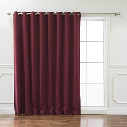 Best Home Fashion Wide Width Thermal Insulated Blackout Curtain - Antique Bronze Grommet Top - Burgundy - 100