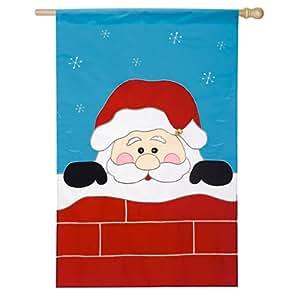 Christmas Peek-A-Boo Santa Applique House Flag