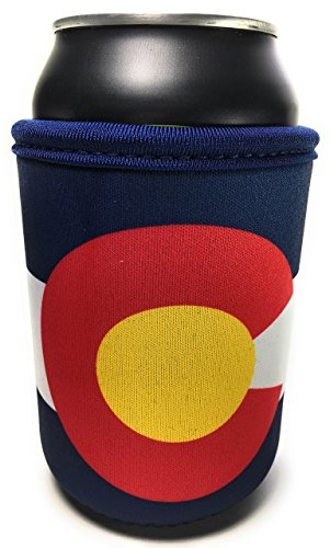 Gold Beverage Tent - Colorado State Flag Neoprene Beverage Insulator Beer Can and Bottle Cooler - Great for Outdoor Adventure, Football Tailgating and Sports Events Cozy - Blue White Red and Gold (2)