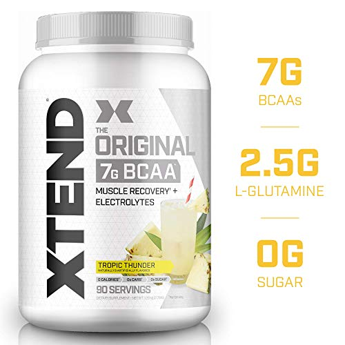 XTEND Original BCAA Powder Tropic Thunder, Sugar Free Post Workout Muscle Recovery Drink with Amino Acids, 7g BCAAs for Men & Women, 90 Servings, 44.5 Ounce