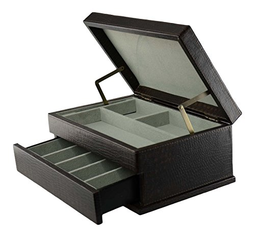 Top Quality Men's Black Leather Jewelry Box And Valet Storage Box Organizer by Bombay Brand (Image #2)