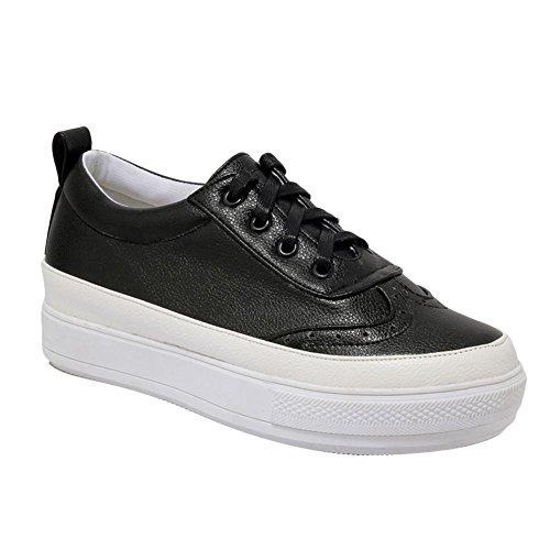 Schouder Dames Lace Up Comfort Casual Verborgen Hak Mode Sneakers Witte Rand