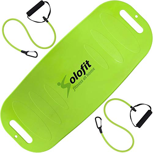 (Solofit Fitness Balance Board with Resistance Bands, Green)
