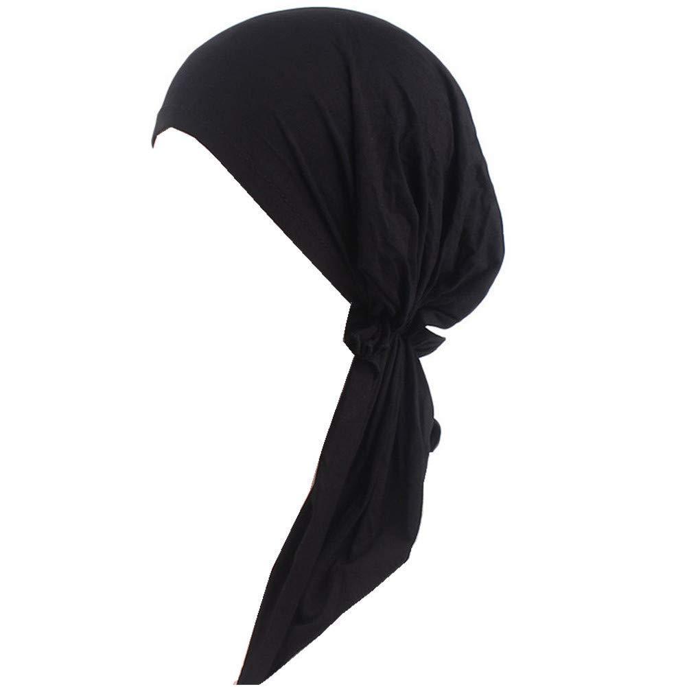 Women Head Scarf Soft Lycra Modal Cotton Turbans Chemo Caps Tied Bandana Head Wrap (Black)
