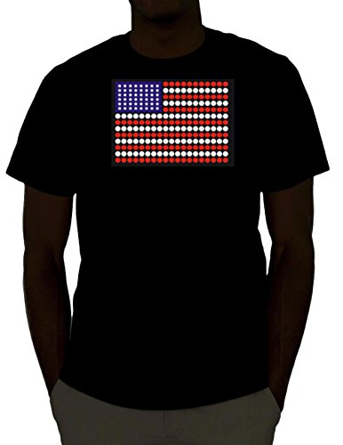 Led Sound Activated El T-shirt - FLASHWEAR Sound Activated LED Light up Shirt - Over 30+ Designs (Small, USA Flag)