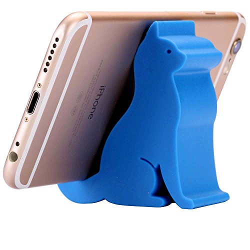 Plinrise Mini Cat Shape Cute Cell Phone Mounts Phone Stand Candy Color Creative Material Of ABS, For Phone(Blue)