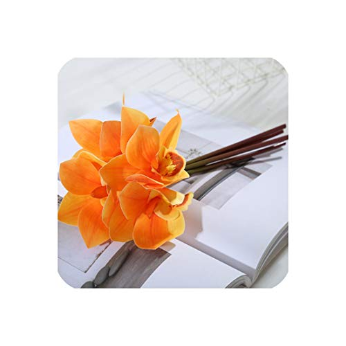 27Cm Long Artificial Flowers Orchid Magnolia Cymbidium Bouquet Heads Real Touch for Home Decor Wedding Wedding Bride Hand Flower,Orange]()