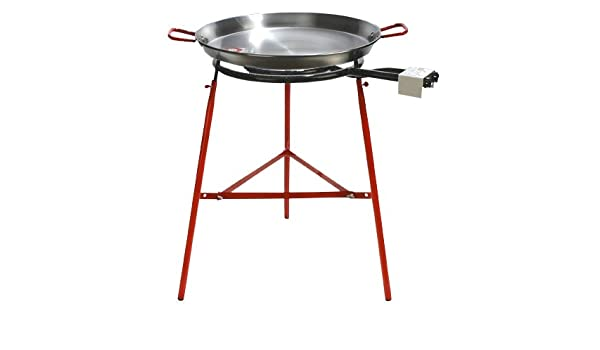 Amazon.com: 60 cm Polished Paella + Stove Mod. 500 + Reinforced Support Mirador Paella KIT: Kitchen & Dining