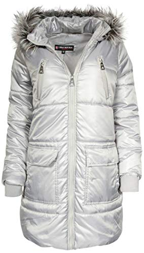 Urban Republic Junior Women\'s Down Alternative Winter Puffer Bubble Jacket Coat, Silver, Large'