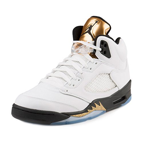 Jordan Men's Air 5 Retro, OLYMPICS-WHITE/BLACK-MTLC GOLD COIN, 10 M US