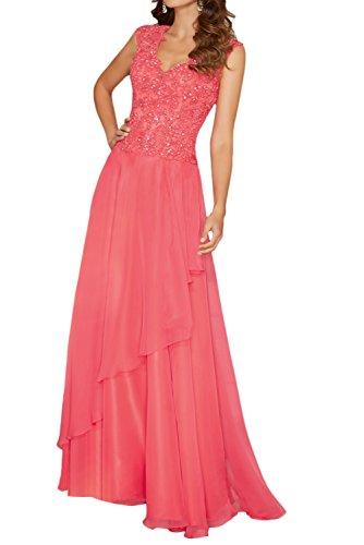 Damen Royal Chiffon Wassermelon Ballkleider Kleider Charmant Blau Langes Chiffon Festliche Abendkleider mit Etuikleider 4BAnqdg