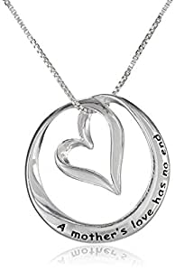 """Sterling Silver """"A Mothers Love Has No End"""" Open Heart Circle Pendant Necklace, 18"""""""