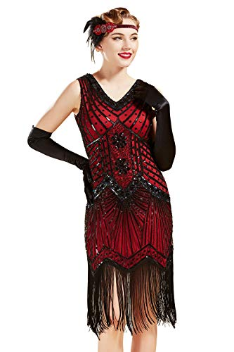 BABEYOND Women's Flapper Dresses 1920s V Neck Beaded Fringed Great Gatsby Dress (Red, L (Fits 29.9