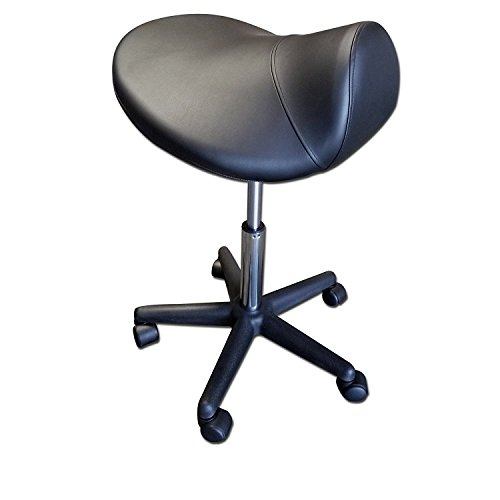 TOA Black Saddle Stool Hydraulic Ergonomic Office Massage Rolling Chair
