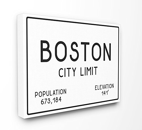 Boston Usa Wall (Stupell Industries Boston City Limit XXL Stretched Canvas Wall Art, Proudly Made in USA)