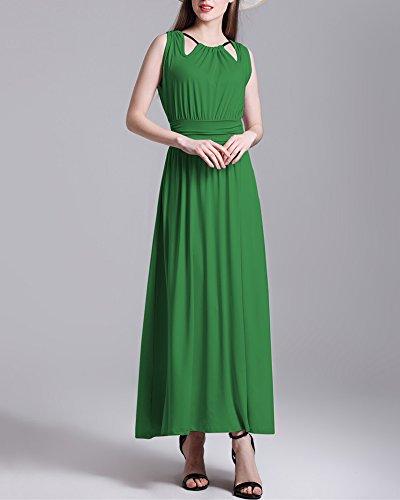 Damen Kleid Ärmellos Maxikleid Falten Kleid A-Linie Kleid Einfarbig Stretch Basic Kleid Elegant Grün aKoME