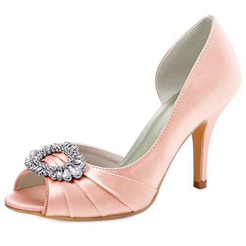 ElegantPark HP1710 Women High Heel Pumps Peep Toe Rhinestones Brooch Satin Bridal Wedding Shoes Blush US 9