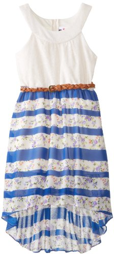 Rare Editions Big Girls' Lace Bodice with Mixed Print Chiffon Skirt, Ivory/Navy, 7