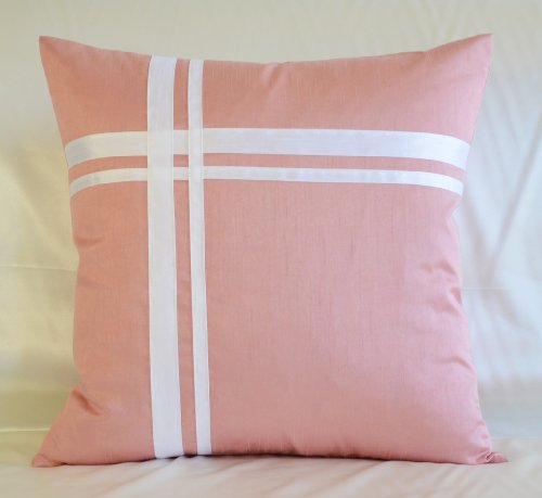 Creative Faux Silk Stripe Euro Sham / Pillow Cover 26 by 26 - Rose Pink (Sham Euro Pink Stripes)