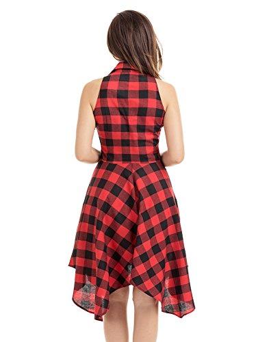 Minetom Mujer Verano Vestido Ocasional a Cuadros Cintura Alta Sin Mangas Palacio Cuello en V Camiseta Midi Dress de Partido Rojo