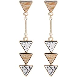 BONALUNA Bohemian Wood And Marble Effect Triangle Drop Statement Earrings
