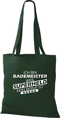 Shirtstown Bolso de tela Estoy Salvavidas, weil Superheld sin Trabajo ist Verde