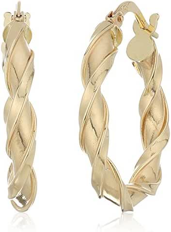14k Yellow Gold 20mm X 3mm Twisted Click Top Hoop Earrings