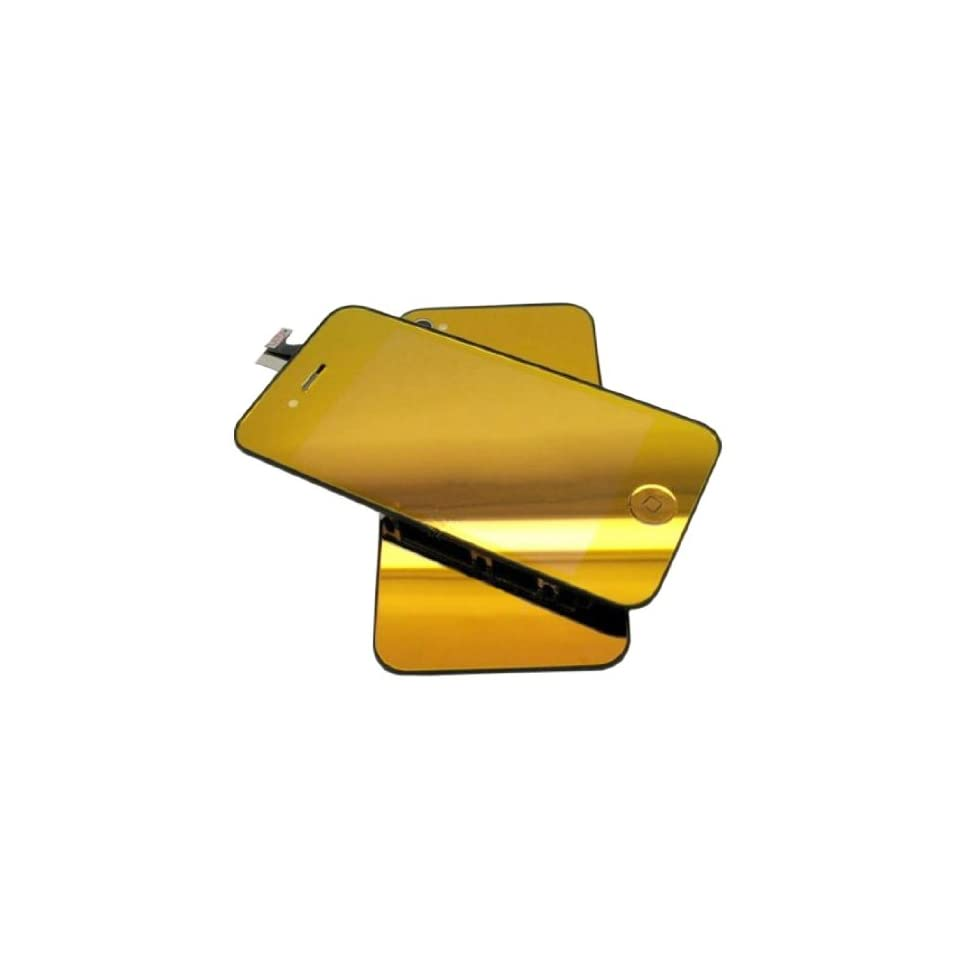 Goliton® Conversion Kits Chrome Mirror Kit LCD Assembly Repair Parts for iPhone 4S   Plated Mirror Gold