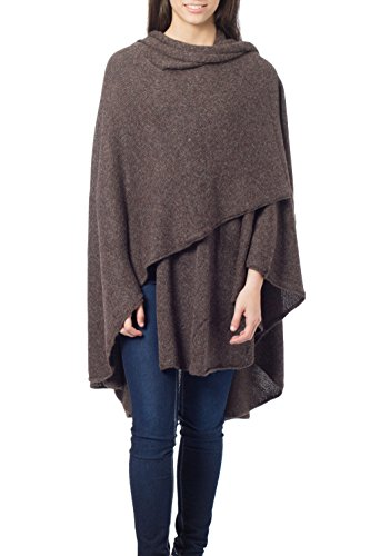 NOVICA Handmade Dark Brown Alpaca Wool Blend Wrap 'Brown Tweed'