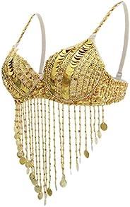 SM SunniMix Womens Belly Dance Sequin Beaded Bra Tops Samba Dancing Costume Tassel