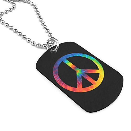 Tie Dye Peace Sign Pet ID Tags Personalized Double Sided Alloy Dog Tag Novelty Unique Christmas Birthday Gifts for Pet Lovers(Custom Number,Name,Address)