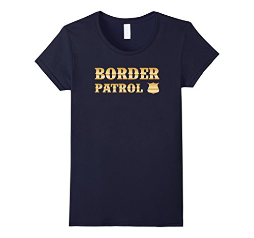 Womens Border Patrol DIY Halloween Costume T-Shirt Large Navy