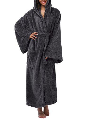 039bafe55a VIKEY Women s Plush Coral Velvet Robe Cozy Long Hooded ...