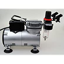 New Pro Airbrush Compressor 1/6HP with Regulator and Pressure Gauge, Braided Hose, Holder For Tattoo Nail Art