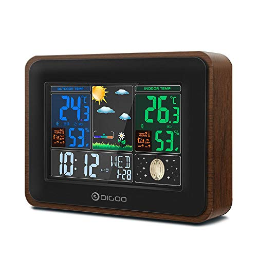 DIGOO DG-TH8878 Wood Grain Color Wireless Weather Station, Indoor Outdoor Hygrometer Thermometer Weather Forecast with USB Charge Port Output, Voice Control, Color Screen Display, Dual Alarm Clock