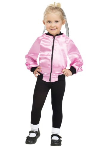 Little Girls' Satin Pink Lady Jacket Large (3T - 4T) (Girls Nifty 1950s Costume)