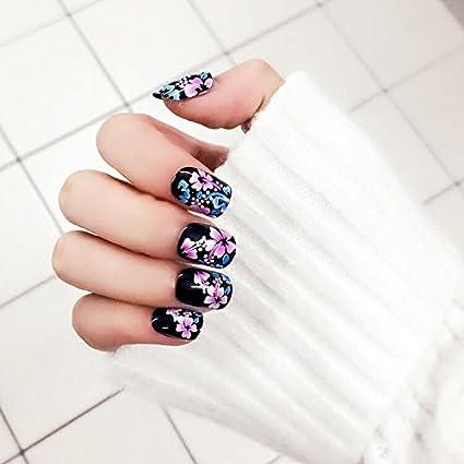 yunail Fashion Chinoiserie estilo de uñas postizas acuarelas Peonías Patrón 24pcs ovalado corto completo acrílico uñas