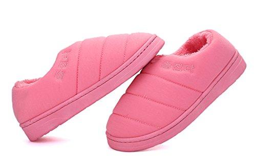 Icegrey Parejas Del Amante Zapatillas De Estar Por Casa Zapatos Ae Algodón Acolchado De La Felpa Pantuflas Rosa roja