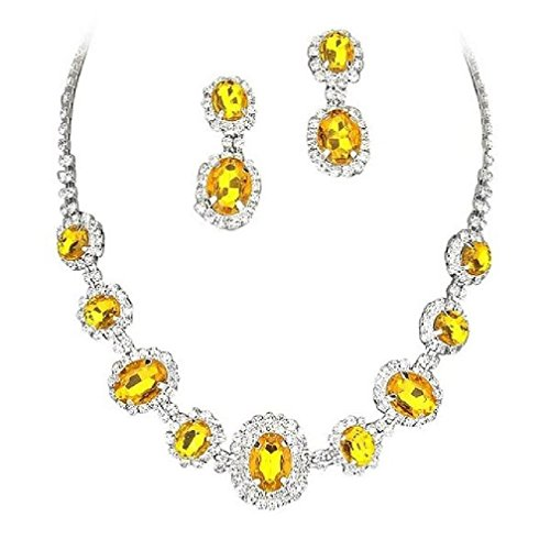 Yellow Crystal Jewelry - Fancy Elegant Jewelry Collection Bridal Wedding Necklace Earring Crystal Sets(Yellow)