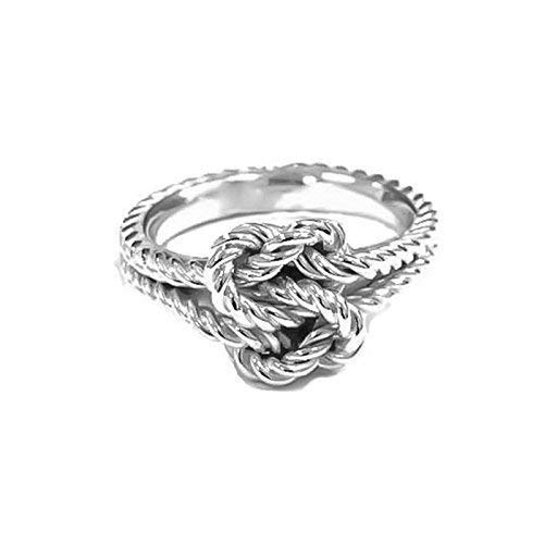 5a536b60cd Amazon.com: Silver Love Knot Rings True Lovers Knot Gift Hand Woven  Nautical Knot Ring: Handmade