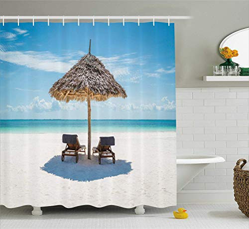 DIY Seaside Shower Curtain, Wooden Sun Loungers Facing Eastern Ocean Under a Thatched Umbrella in Zanzibar, Rustproof Metal Grommets for Bathroom Showers and Bathtubs, 72 x 84 Inches Turquoise Cream (Sale Thatched Umbrellas)