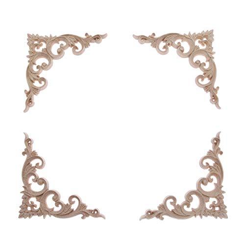 MUXSAM 4Pcs 10cm Wood Hand-Carved Unpainted Sharp Corner Onlay Applique Unique Style Furniture Frame -