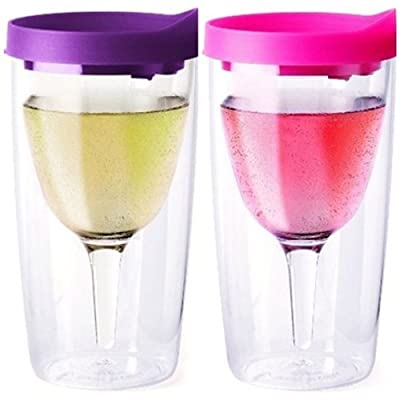 PAIR of 2 Purple and Pink Lid Vino2Go 10 oz Travel Party Tumbler Adult Wine Sippy Cup