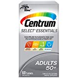 Centrum Select Essentials (60 Count) Adults 50+, Complete Multivitamin Multimineral Supplement
