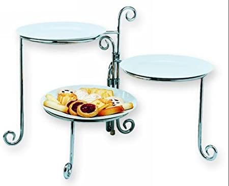 Enjoyable 14 Chrome Folding Three Tier Buffet Server Fits 9 11 Beutiful Home Inspiration Cosmmahrainfo