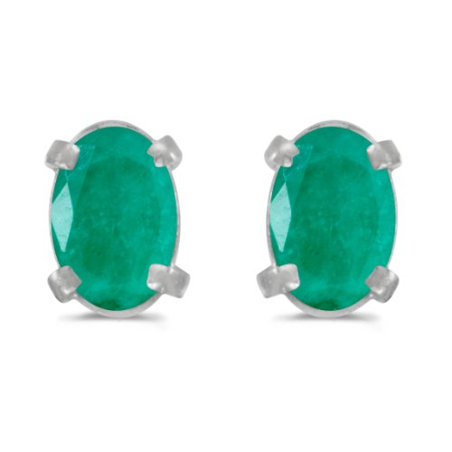 White Gold 6x4mm Oval Emerald - 6