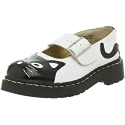 T.U.K. Women's Cat Mary Jane Flat,Black/White,7 M